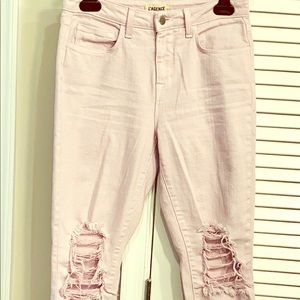 L'Agence Distressed Pink Jeans